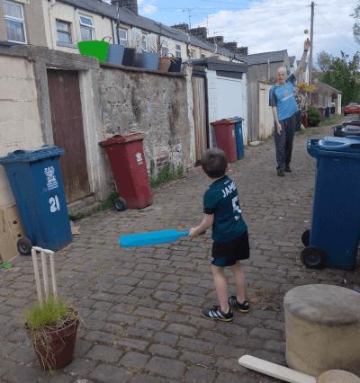 Cricket in the alleyway