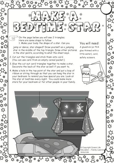 Make a bedtime star - activity sheet