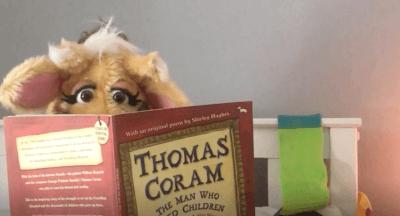 Harold reading Thomas Coram book