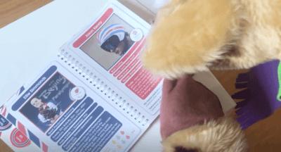 Harold reading his Olympic Stars book