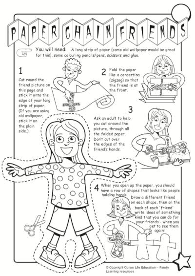 Paper chain friends - activity sheet