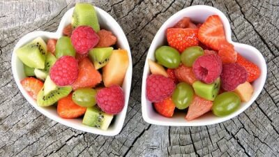Fruit salad in heart shaped bowls