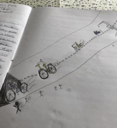 Drawing of Harold riding his bike