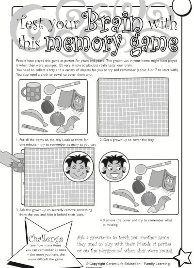 Brain memory game - activity sheet