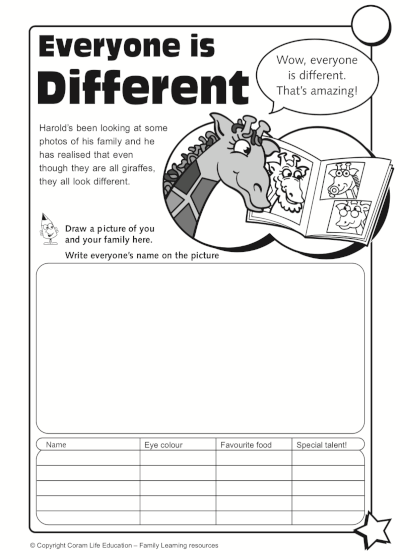 Everyone is Different - activity sheet