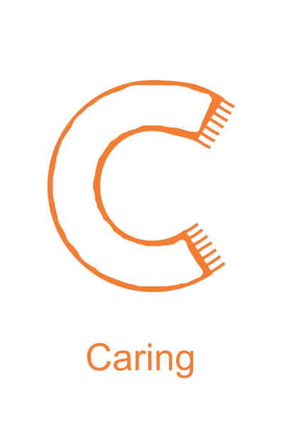 Letter C is for Caring - black version for children to decorate