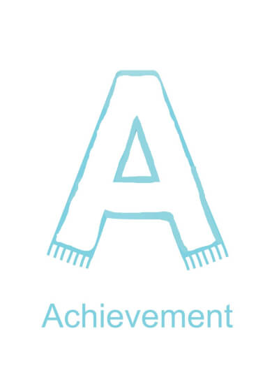 Letter A is for Achievement - black version for children to decorate