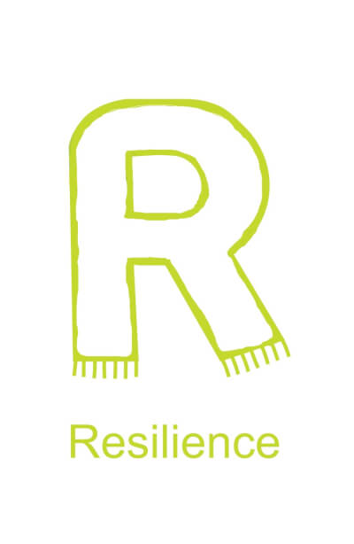 Letter R is for Resilience - black version for children to decorate