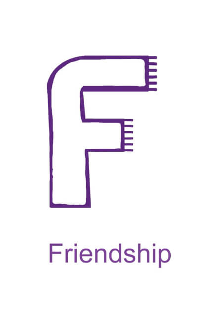 Letter F is for Friendship - black version for children to decorate