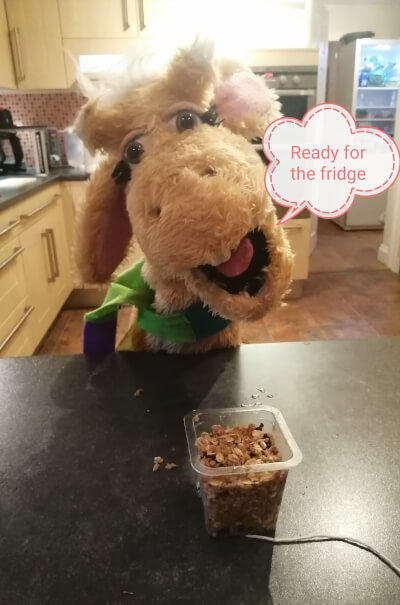 Harold the giraffe saying that the bird feeder recipe is ready for the fridge