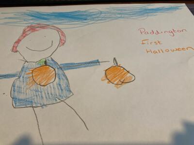 Bertie's drawing of Paddington Bear with a halloween pumpkin lantern.