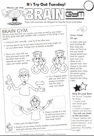 Brain Gym - print or read on screen